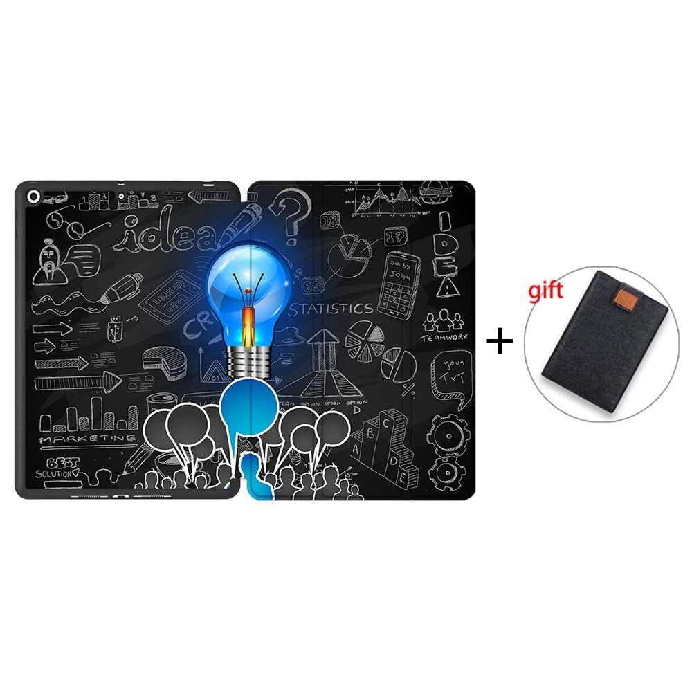 IPTPU04 Blue MTT Case For iPad 10 2 inch 7th 8th Generation 2020 Soft TPU PU Leather Flip