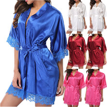 Sexy Womens Ladies Bride Robes Kimono Robe Satin Silk Lace Night Wear Gown Sleepwear(China)