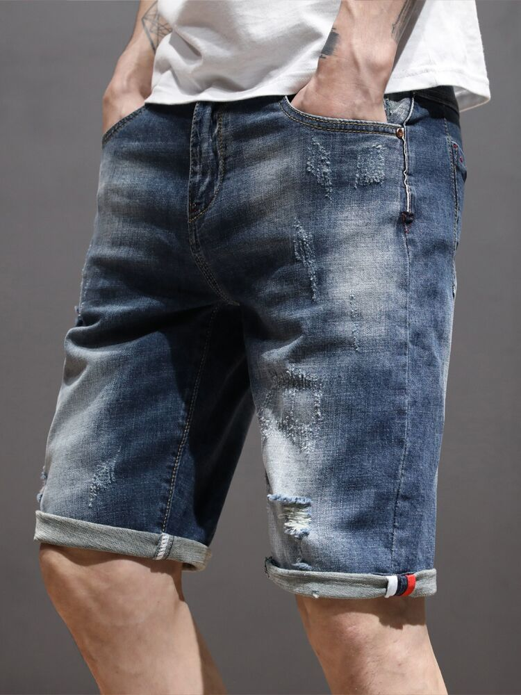 Denim Shorts Jeans Stretch Brand Clothes Casual Summer Elastic Men's Fashion New Male