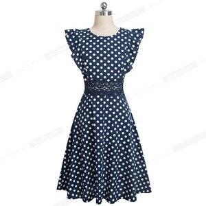 Image 3 - Ładny na zawsze Retro kropki rękaw z falbankami vestidos z koronką Party kobieta Swing Flare kobiety sukienka A175