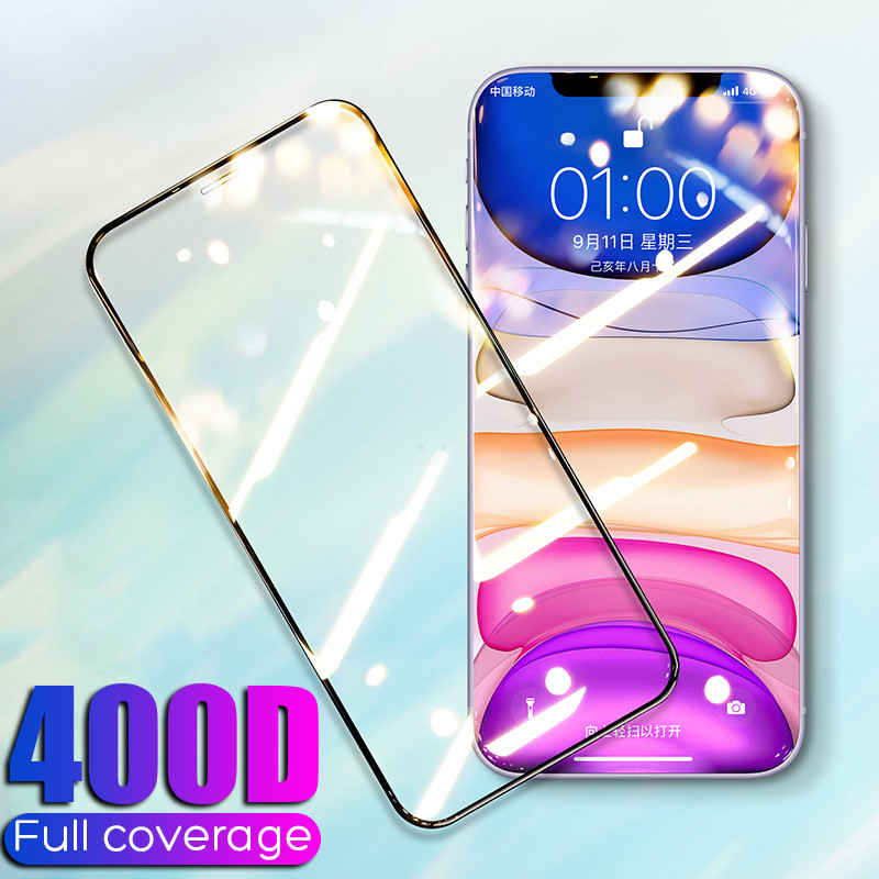 400D Full Cover Tempered Glass For IPhone 11 Pro X XR XS MAX Glass IPhone 11 Pro Screen Protector Protective Glass On IPhone 11
