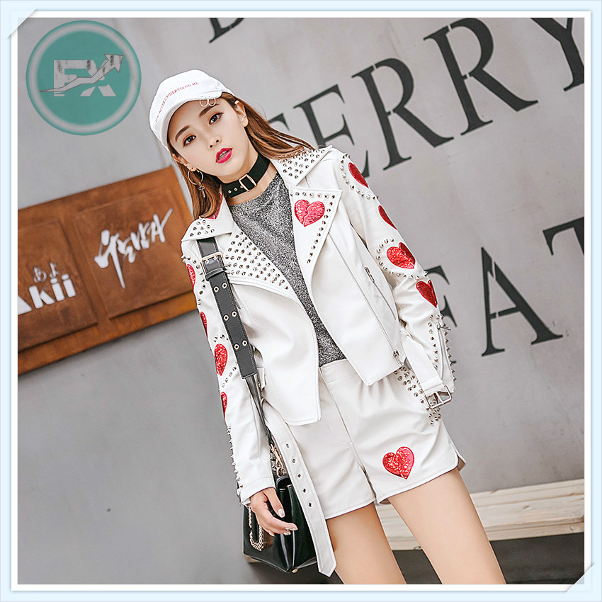 G. SKY New Leather Clothing Tops Leather Jacket Sequin Patch Decoration Women PU Motorcycle Clothing Female Spring (No Pants)