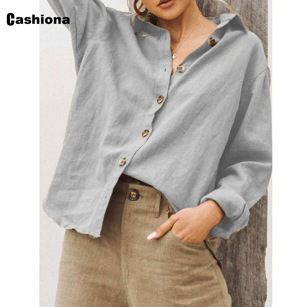 Women Lepal Collar Leisure Blouse Plus Size Ladies Top Cotton Linen Shirts Feminina blusas shirt ropa mujer womens clothing 2021 8