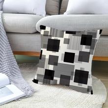 Geometric Black White Home Decorative Throw Pillow Case For Sofa Morden Plaid Stripe Polyester Cushion Cover Ins Soft Pilowcase trendy black and white stripe v shape square sofa pillow case
