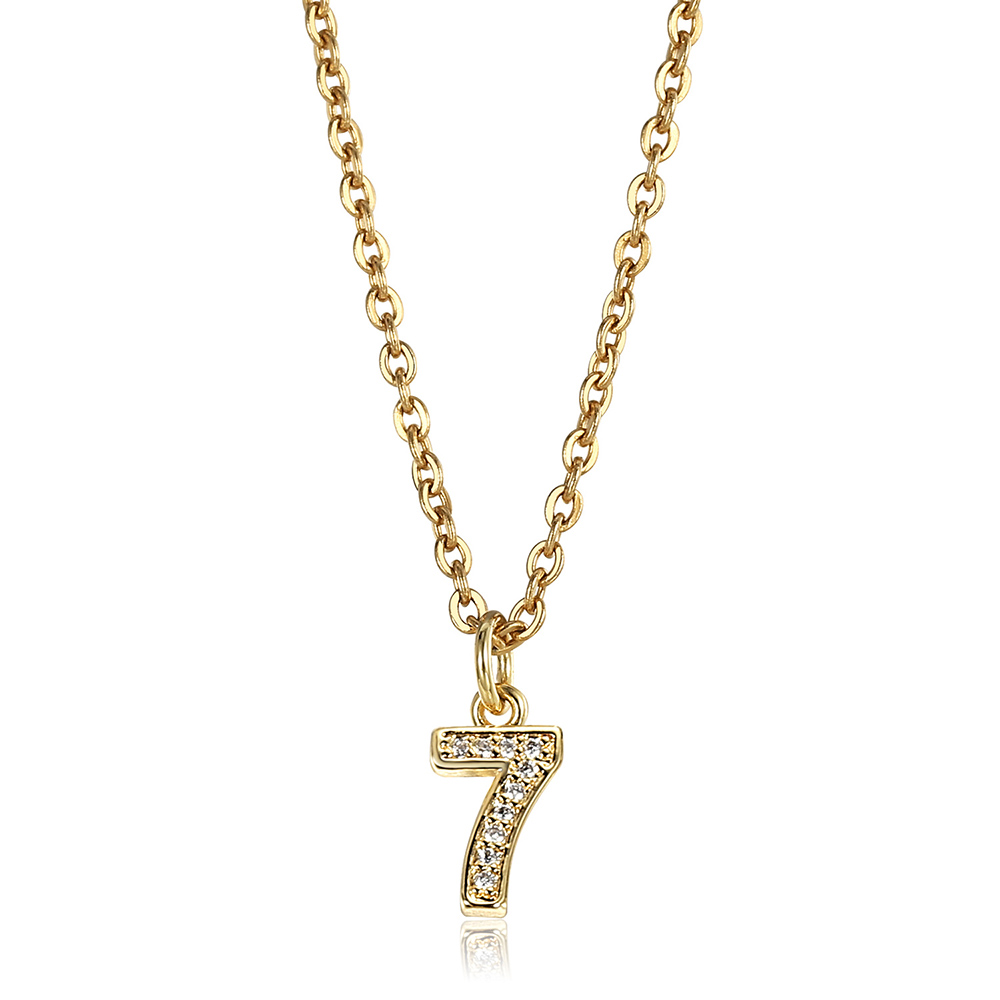 Dainty Tiny Cute Number 0 1 2 3 4 5 6 7 8 9 CZ Pendant Birthday Lucky Number Charm Necklace Rolo Chain Adjustable KN652