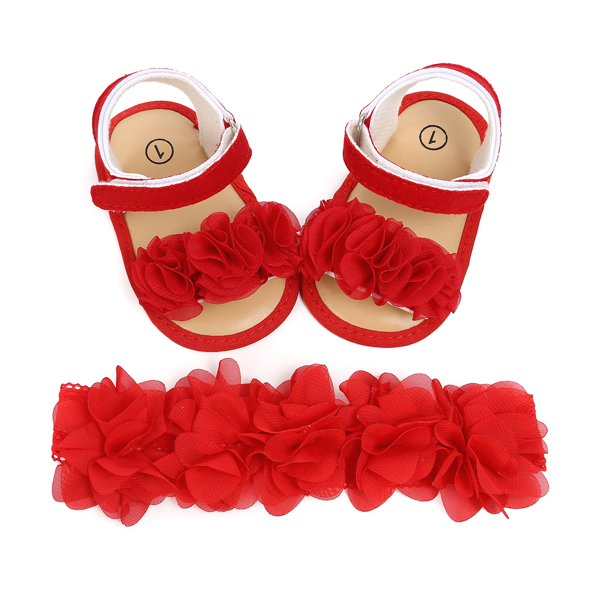 Newborn Kids Baby Girl Flower Sandals Casual Crib Shoes PU Leather First Prewalker + Headband Hair Bands Sheer White Pink Red