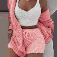 Fashion Plush Short Pants Women Tracksuit Solid Hooded Cardigan Two Piece Set Shaggy Women Sports Suit