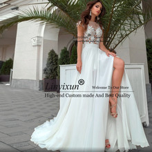 Sexy Side Slit Beach Wedding Dress Appliques Lace Chiffon Bride Dress