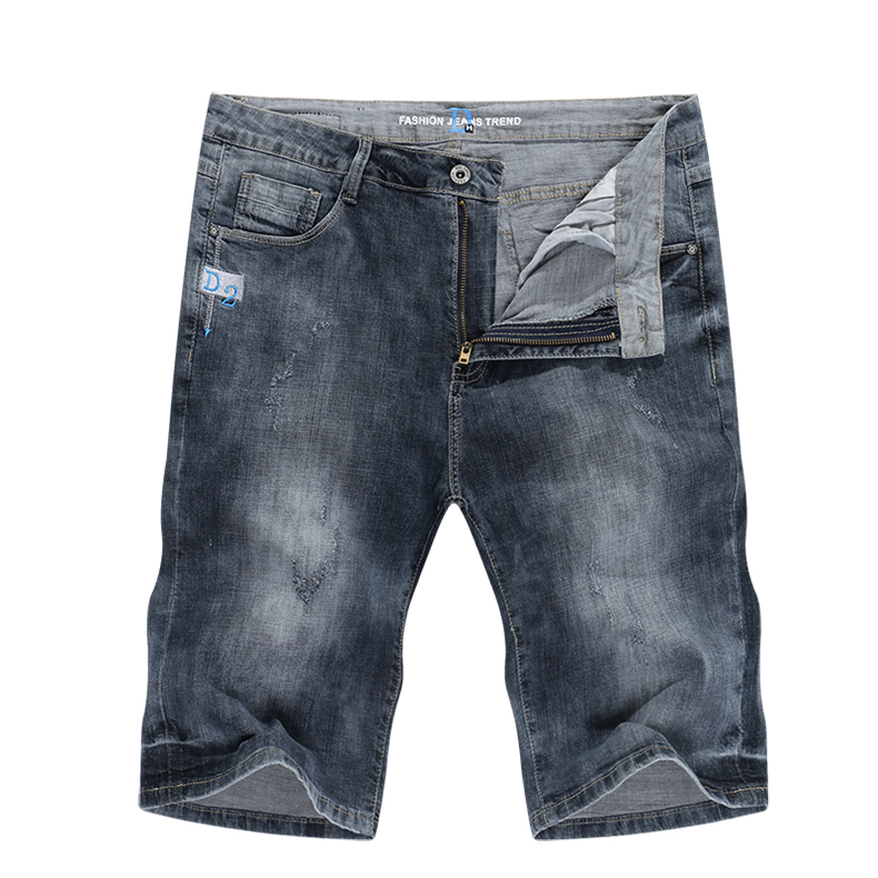 KSTUN Mens Grey Jeans Short Summer Denim Shorts Slim Jeans Men Retro Stretchy Regular Fit Casual