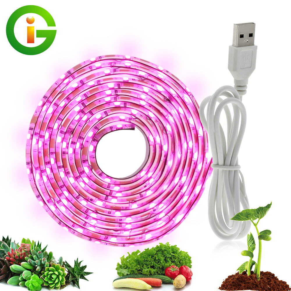 USB LED Grow Light Full Spectrum 5V LED Strip Phyto Lamp 2835 0.5m 1m 2m Grow Lights For Indoor Greenhouse Plant Flower Growing