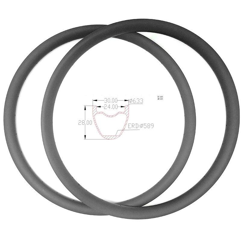 Graphene carbon mtb disc rims 29er XC 30x28mm hookless carbon mtb rims bike wheel tubeless Mountain bike rims ERD 589mm