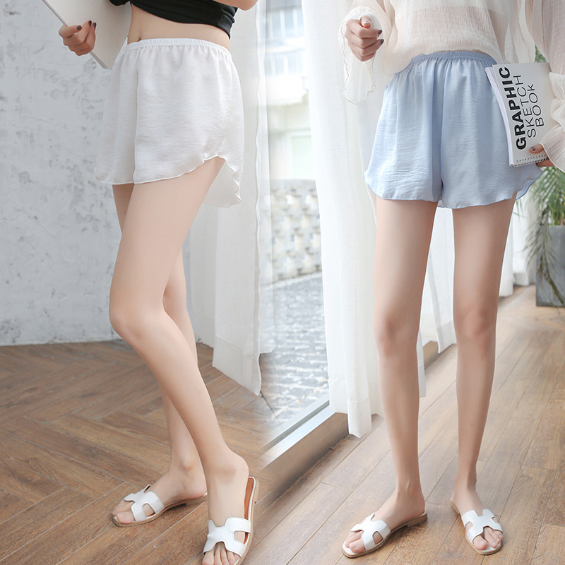 Summer New Style Real Silk Shorts Women's Anti-Exposure Safety Shorts Thin Loose And Plus-sized Insurance Pants Leggings