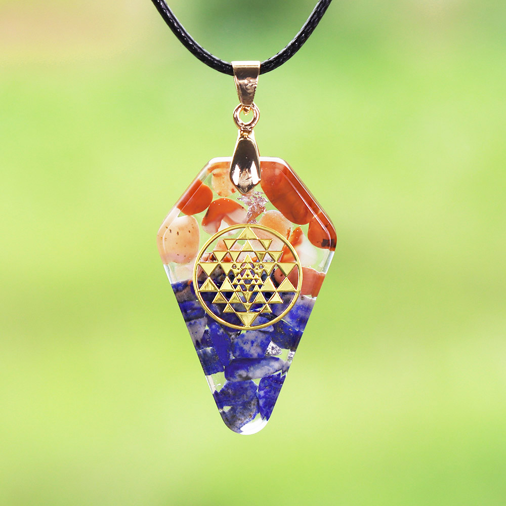 Orgonite Pendant Sri Yantra Necklace Sacred Geometry Chakra Energy Necklace Meditation Pendant Jewelry