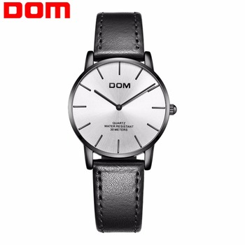 new DOM Watch Montre Femme Women Top Brand Luxury Ladies Watch Waterproof Ultra thin leather Quartz Wrist Watch Lady ibso new brand 7 mm ultra thin women watches 2018 gray genuine leather strap ladies watch luxury quartz watch women montre femme