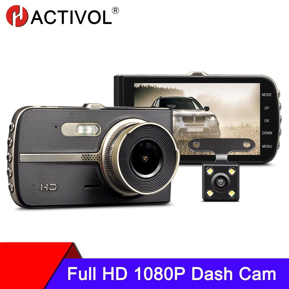 Автомобильный видеорегистратор, двойная камера заднего вида 1080P 4 дюйма Full HD, циклическая запись, ночное видение, видеорегистратор