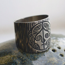 Eyhimd Mitologi Norse Goddes Hel Cincin Viking Hela Rune Stainless Steel Band Celtics Jimat Pagan Perhiasan(China)
