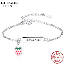 ELESHE Custom Engrave Name Bracelet Adjustable 925 Sterling Silver Strawberry Charm Bracelet for Girls Kids Personalized Jewelry(China)