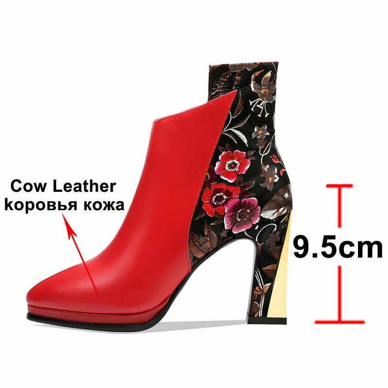Meotina Sonbahar yarım çizmeler Kadınlar Doğal Hakiki Deri Zip Kalın Topuk kısa çizmeler Çiçek Süper Yüksek Topuk Ayakkabı Bayan Kış Kırmızı