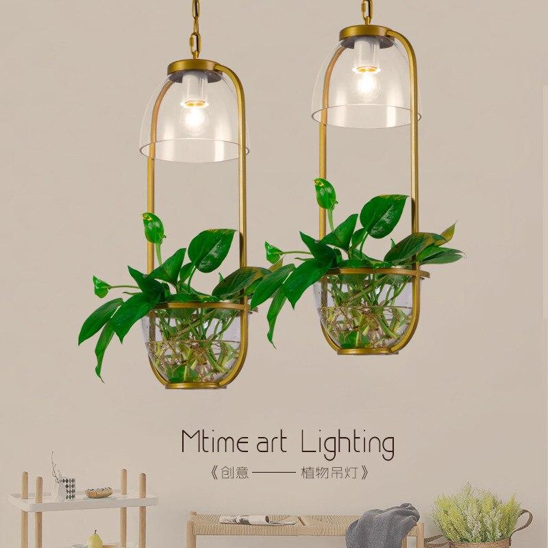 Işıklar ve Aydınlatma'ten Kolye ışıkları'de LED kolye ışık Pastoral yaratıcı cam asılı lamba restoran Cafe lamba armatürleri E27 süslemeleri Pot bitki kolye ışıkları title=