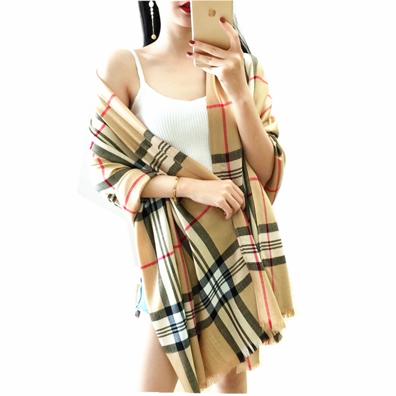Hans New Plaid Design High Quality Cotton Mix Cashmere Scarf Woman Winter Shawl Large Pashmina Scarfs
