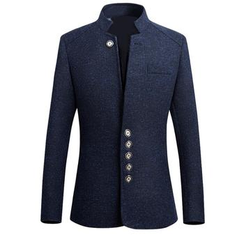 Men Solid Color Long Sleeve Stand Collar Single-breasted Plus Size Slim Blazer Solid Color Long Sleeve Stand Collar Single-breas