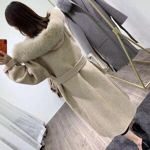 Image 4 - OFTBUY 2020 אמיתי פרווה מעיל חורף מעיל נשים טבעי פרוות שועל צווארון הוד קשמיר צמר תערובות x ארוך הלבשה עליונה streetwear קוריאה