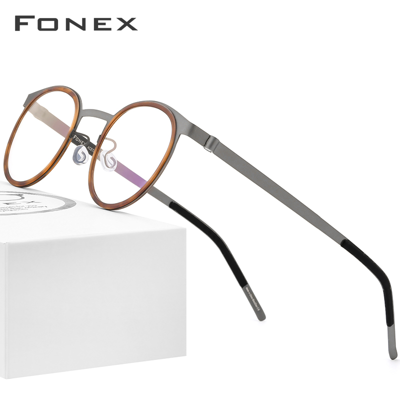 FONEX Acetate Alloy Glasses Frame Men Women Vintage Round Myopia Optical Frames Prescription Eyeglasses Screwless Eyewear 98625