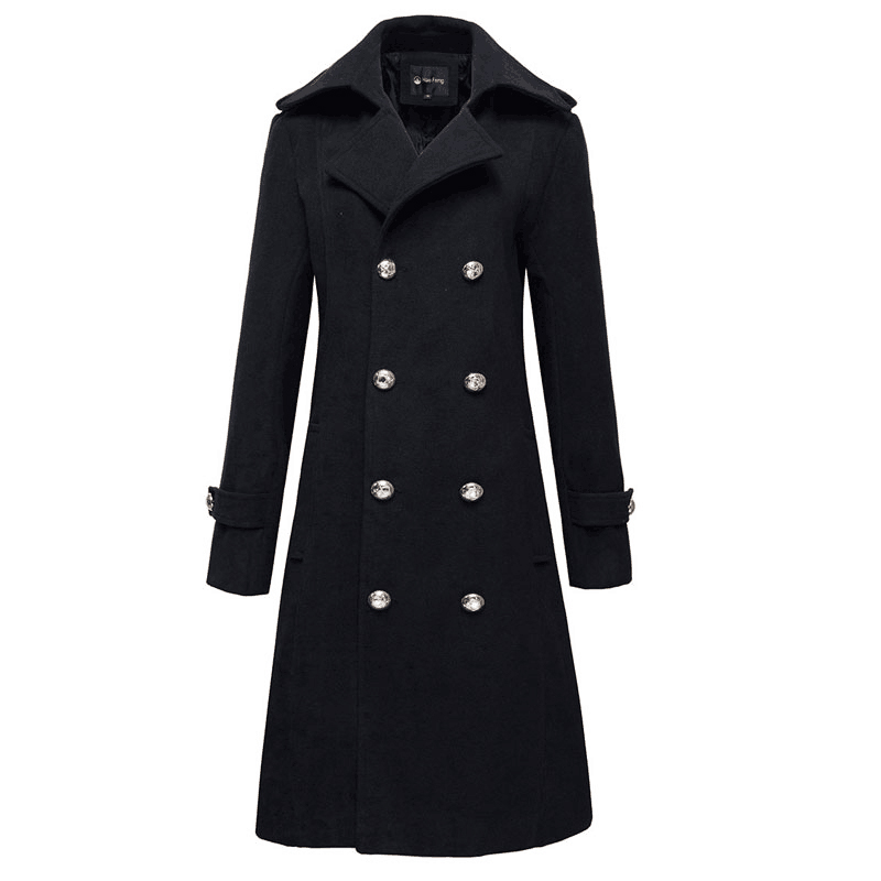 Winter Woolen Long Overcoat Men Casual Slim Fit Double Breasted Peacoat Mens Business Blends Trench Coat