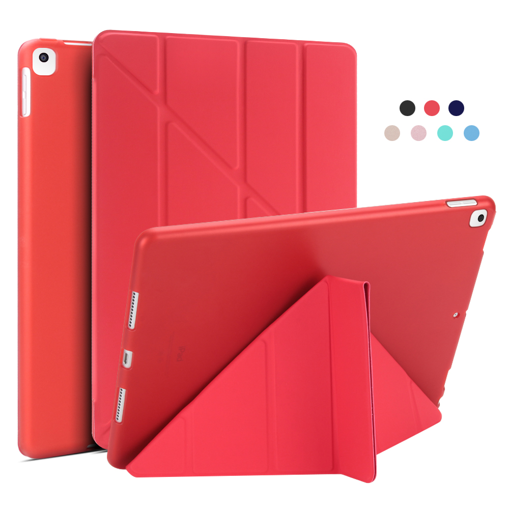 Red Red For iPad 10 2 Case 2020 2019 PU Leather Multi Fold Stand Smart Cover For iPad