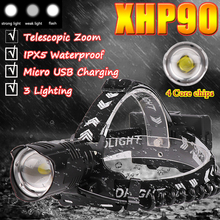 XHP90 LED Headlamp USB Rechargeable Zoom Fishing Headlight Torch Headlamp hunting  Head light Camping Flashlight portable zooming xml t6 led headlamp waterproof zoom fishing headlights camping hiking flashlight with usb cable
