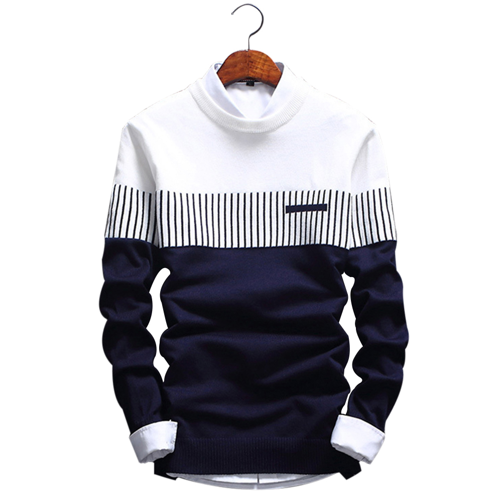 AKSR Men's New Fashion Wool Sweater Coat Striped O Neck Pullover Jumper Men Cashmere Warm Swetry Pull Homme Jersey Sueter Hombre