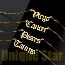 Vnistar 100% Stainless Steel Old English Zodiac Letter Necklace for Women Aries Horoscope Jewelry Fashion Necklaces Dropshipping