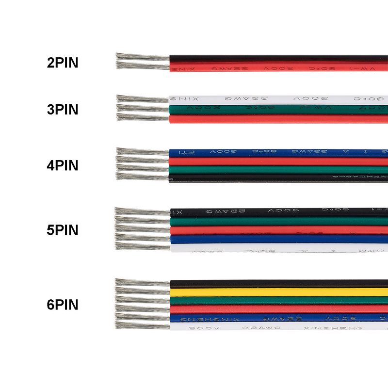 3 Pin LED Strip Cable <font><b>2</b></font> 4 5 6 <font><b>Core</b></font> Cable JST SM Connector Copper Electric Cable <font><b>Wire</b></font> For WS2812B RGB RGBW 5050 LED Strip Light image