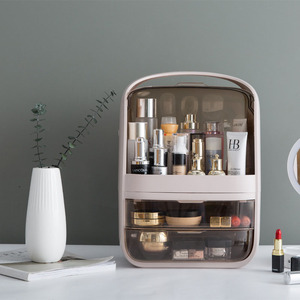 Image 2 - Makeup Organizer Transparent Clamshell 2 Drawer Dressing Table Desktop Plastic Cosmetic Box Storage Containers Jewelry Holder