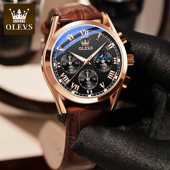 OLEVS Elite Mens Quartz Watches Business Dress Waterproof Wristwatch Men Luxury Breathable Leather Sports watch men Gifts 3