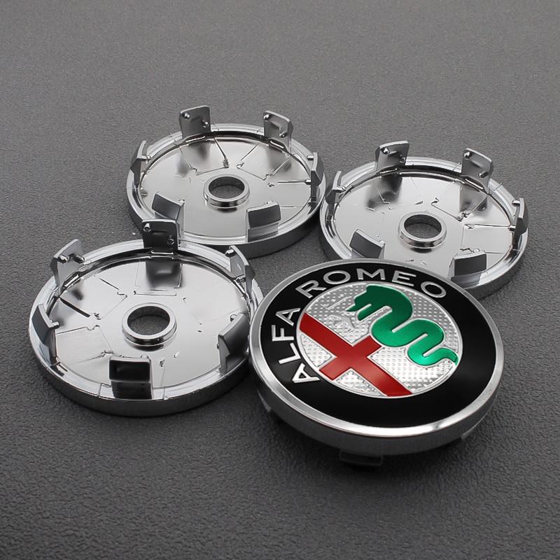 4pcs 56/60mm Wheel Center Hub Caps Car Emblem Badge Wheel Center Cap For Alfa Romeo Giulietta Spider GT Giulia Mito 147 156 159