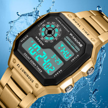 SYNOKE Men Watch Sport Digital Watches Count Down Waterproof Watch Stainless Business Wristwatches Male Digital Watches Clock cheap Stainless Steel 20cm 5Bar Buckle ROUND 22mm 13mm Plastic Stop Watch Back Light Shock Resistant LED display luminous Auto Date