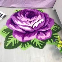 Hot sales good quality art rug for living room small carpet rose rug red purple rose rug