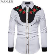 الرجال زهرة الورد التطريز الغربية قميص المكسيكي رجل قمصان بيضاء ضئيلة تيشيرت ضيق بأكمام طويلة مهرجان الحفلات كاوبوي زي kamas