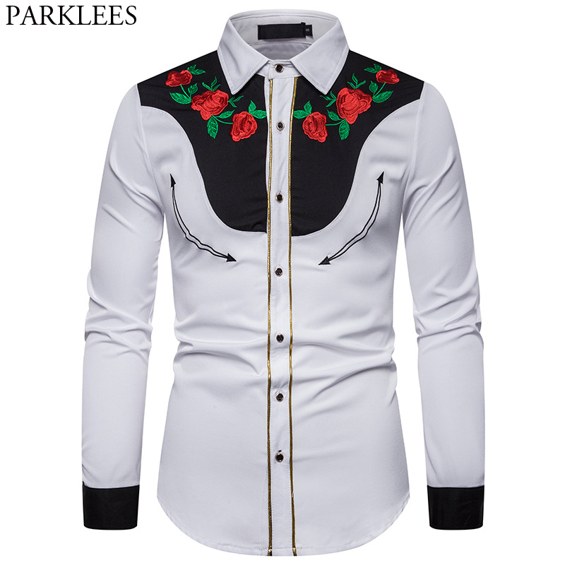 Men's Rose Flower Embroidery Western Shirt Mexican Man White Shirts Slim Fit Long Sleeve Party Festival Cowboy Costume Camisas