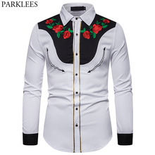 Mens Rose Flower Embroidery Western Shirt Mexican Man White Shirts Slim Fit Long Sleeve Party Festival Cowboy Costume Camisas