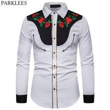 גברים של רוז פרח רקמת חולצה מערבית מקסיקני גבר לבן חולצות Slim Fit ארוך שרוול המפלגה פסטיבל קאובוי תלבושות Camisas