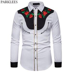 Image 1 - 男性のローズフラワー刺繍西部シャツメキシコ男白シャツスリムフィットロングスリーブパーティー祭カウボーイ衣装 camisas