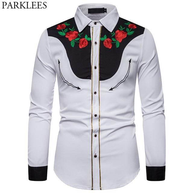 男性のローズフラワー刺繍西部シャツメキシコ男白シャツスリムフィットロングスリーブパーティー祭カウボーイ衣装 camisas