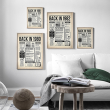 Back 1980-1999 Posters and Prints Newspaper Vintage Canvas Paintings Wall Art Birthday Sign Wall Pictures for Living Room Decor