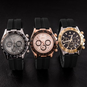 Image 4 - Champagne Rose Gold Men Watches Stopwatch Silicone Rubber Strap Chronograph Quartz Watch Luxury Watch Relogio Masculino Gift