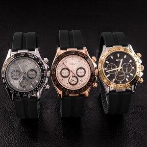 Image 4 - 샴페인 로즈 골드 남성 시계 스톱워치 실리콘 고무 스트랩 크로노 그래프 쿼츠 시계 럭셔리 시계 Relogio Masculino 선물