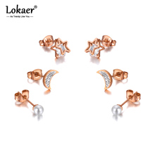 Lokaer Trendy Titanium Stainless Steel Star Moon Pearl Stud Earrings Jewelry 3Pair/Set Crystal Earrings For Women Girls E20209