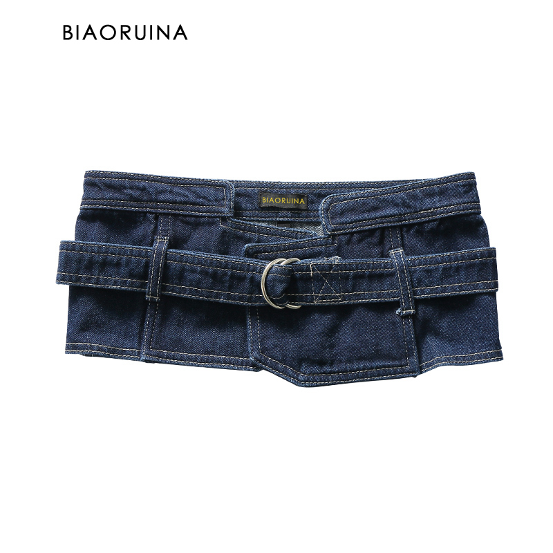 BIAORUINA Women's Fashion Denim Cummerbunds Femlae High Street Belt Ladies Washing Streetwear Waistband