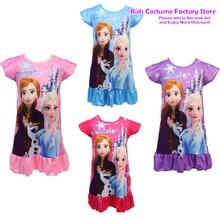 Robe Pajama Nightdress Elsa-Nightgown Girls Sleepwear Princess Kids Children Summer Disney